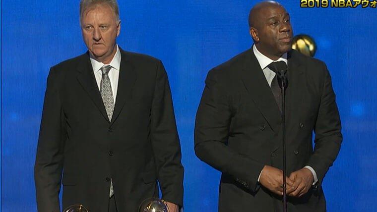 マジック・ジョンソンとラリー・バード受賞画像
